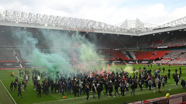 Manchester United fans protest at Old Trafford against Glazer family