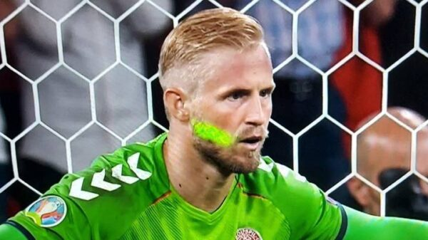 England fan distracted Schmeichel using laser light during Euro 2020 England's semi-final