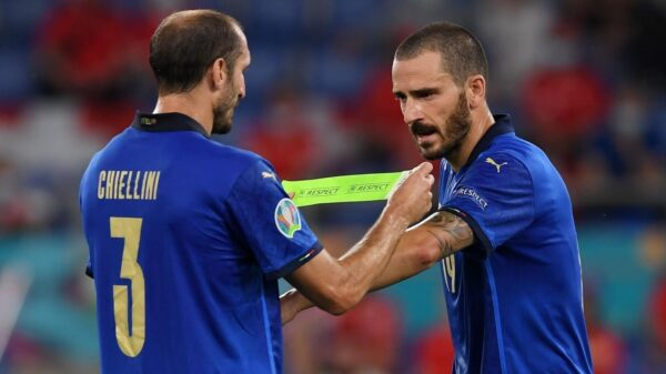 Italy's Chiellini laughed and joked at Spain's Jordi Alba ahead of shootout