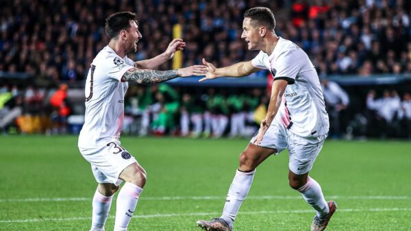 PSG tie with Brugge despite formidable attacking trio